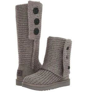 UGG Women's Classic Cardy Gray Sweater Boots 7